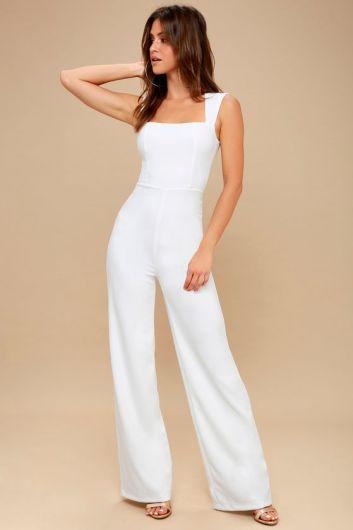 Enticing Endeavors White Jumpsuit