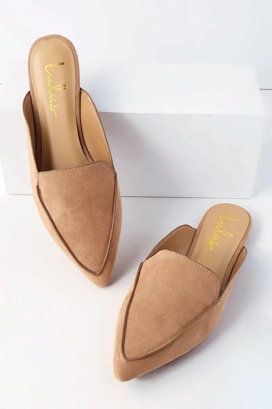 Chic Camel Suede Loafer Slides