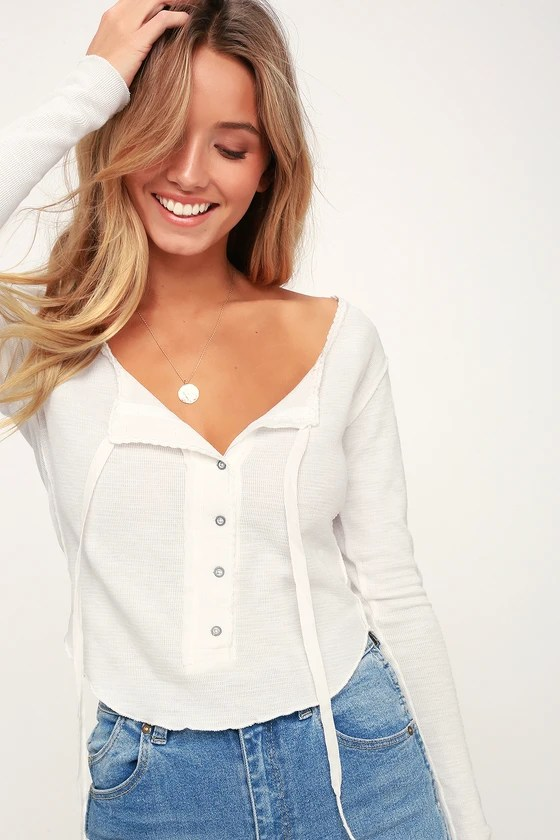 CECILIA IVORY LONG SLEEVE THERMAL TOP