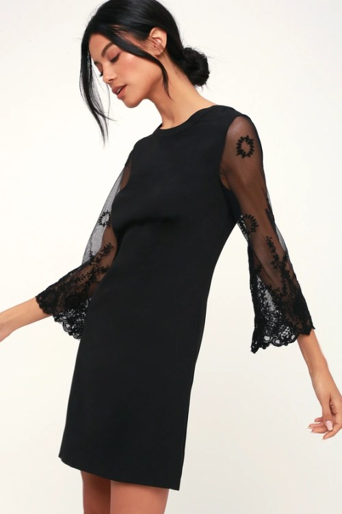 Once Upon A Midnight Black Embroidered Long Sleeve Shift Dress