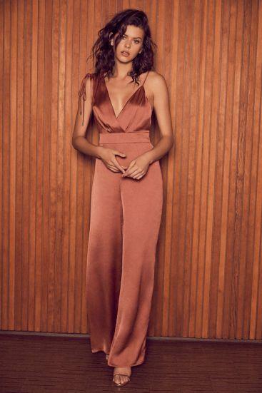 Look of Luxe Rusty Rose Satin Asymmetrical Wide-Leg Jumpsuit