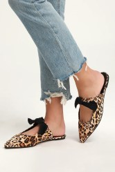 Macey Leopard Suede Pointed Toe Bow Mules