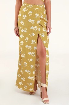 High Heights Mustard Yellow Floral Print Maxi Skirt - Lulus