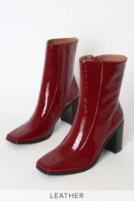 Bold Rosewood Red Patent Leather Square Toe Ankle Boots