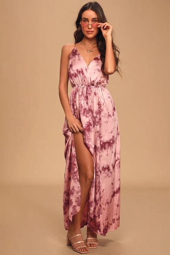 Sunset Cruise Blush and Magenta Tie-Dye Satin Maxi Dress - Lulus