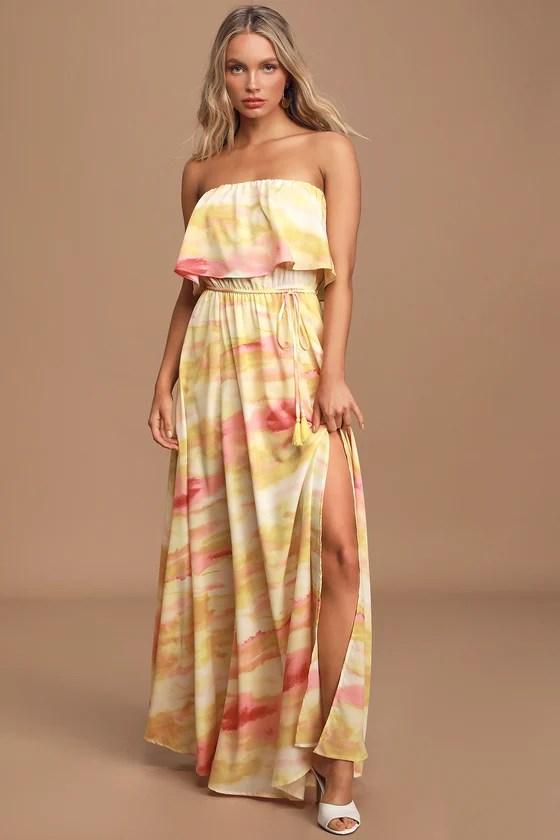 Full of Sunshine Yellow Tie-Dye Strapless Maxi Dress - Lulus