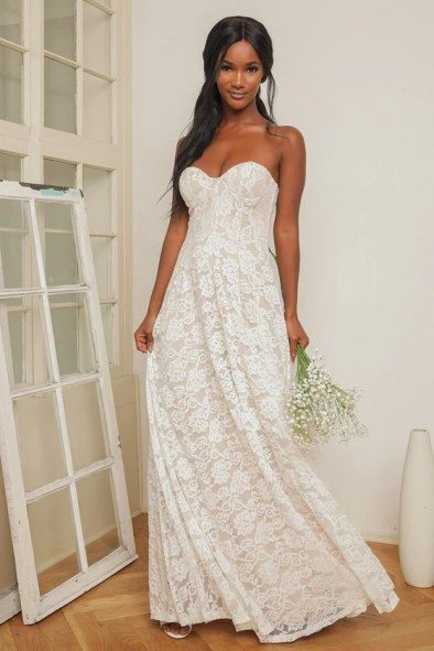 Dream Lasts Forever White Lace Bustier Strapless Maxi Dress, Gopaul Vacancies March 2021
