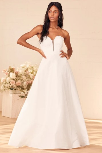 Storybook Romance White Glitter Lace-Up Strapless A-Line Gown