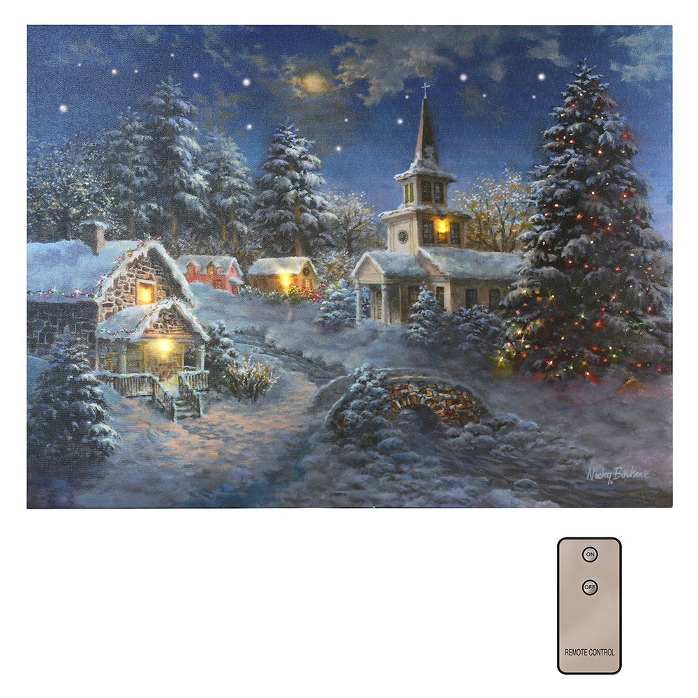 battery powered lighted wall art winter village with remote control