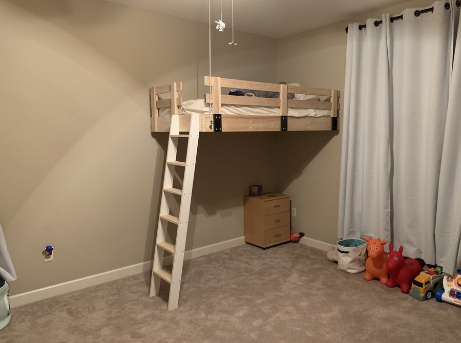 wall cable mounted loft bed by