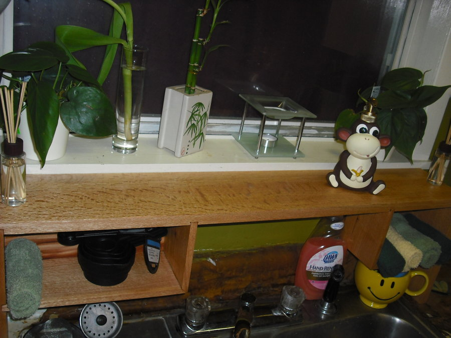 over the kitchen sink shelf by