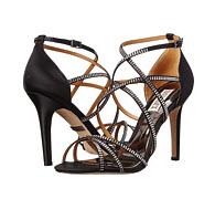 pantofi negri eleganti cu toc si strasuri pentru seara Badgley Mischka Meghan