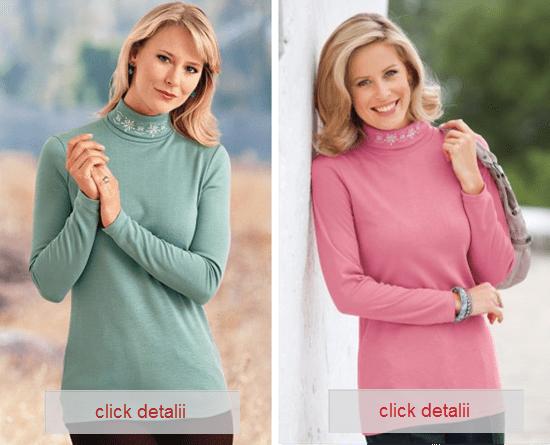pulover cu guler rulat si broderia frumosa din zona gulerului