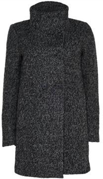 palton gri inchis din lana buclata cu guler ridicat Only