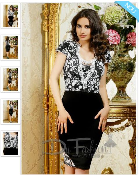 rochie midi de culoare neagra, cu bustul din broderie alba eleganta