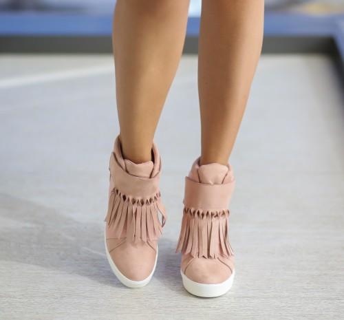Sneakers dama cu platforma ascunsa roz, au franjuri model Herana