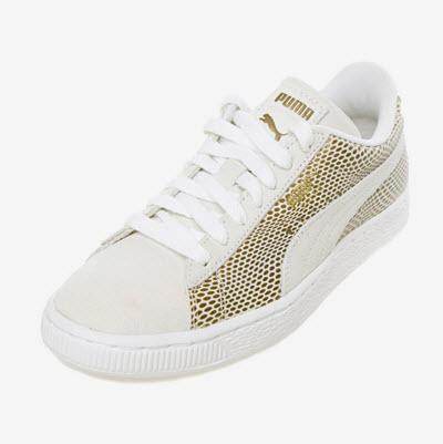 adidasi puma albi piele si textil cu aplicatii aurii