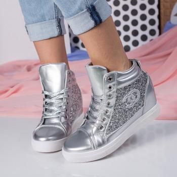 sneakers dama cu platforma argintii