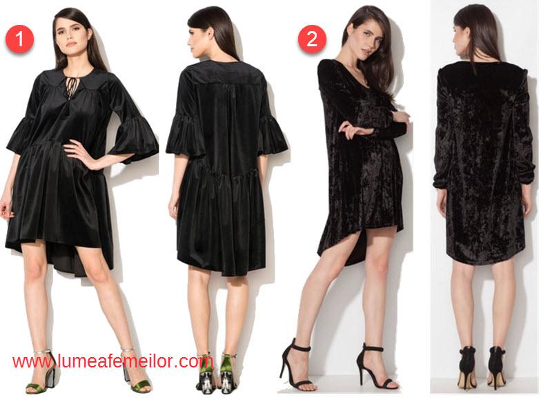 rochii scurte in fata si lungi in spate unele modele sunt rochii largi catifea cu maneca lunga altele rochii drepte