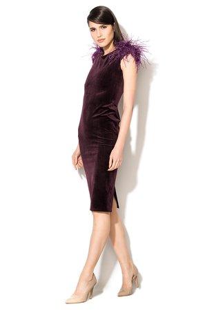 Rochii catifea cu pene culoare violet pruna
