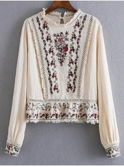 bluza tip ie romaneasca cu broderie si insertii din dantela cu mici volanase si maneci lungi