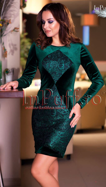 modele rochii catifea cu dantela verde de vanzare online