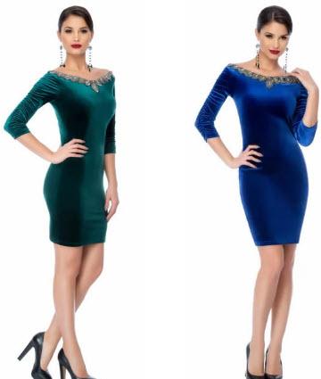 rochie verde din catifea si rochii catifea albastra cu maneci lungi cu pietre stralucitoare