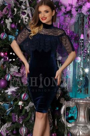 rochii catifea cu dantela bleumarin Dark Blue Neck