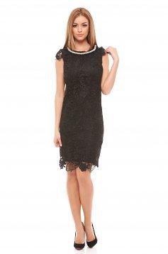 rochii midi elegante online dantela neagra cu perle