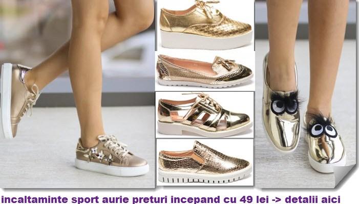 Sneakers si tenisi aurii si argintii. Accente metalice la pantofii sport