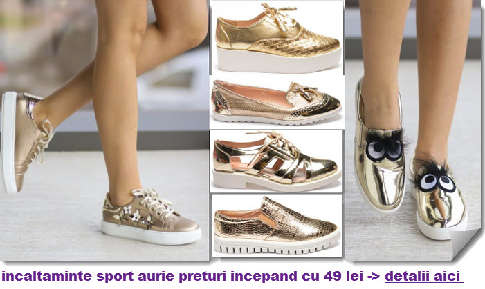 tenisi aurii si incaltaminte sport aurie gen sneakers adidasi pantofi oxford aurii