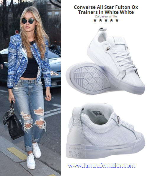tenisi converse albi in outfit purtat de gigi hadid model All Star Fulton Ox Trainers in White White