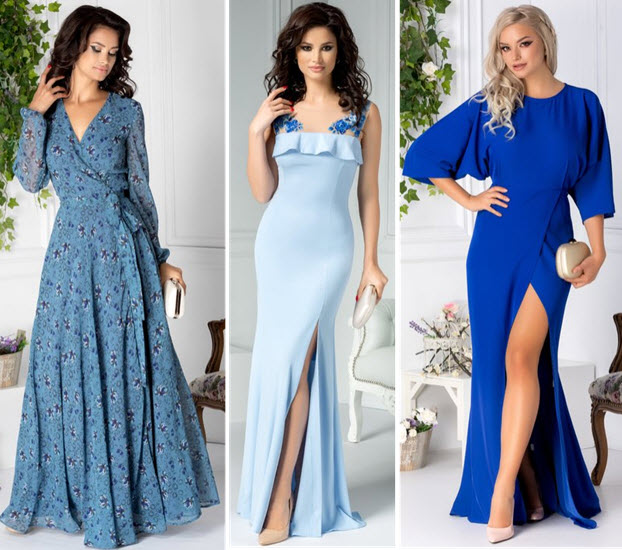 rochii albastre de seara modele lungi
