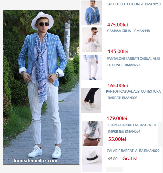 Tinuta smart casual barbati bleu cu alb ideala pentru vara