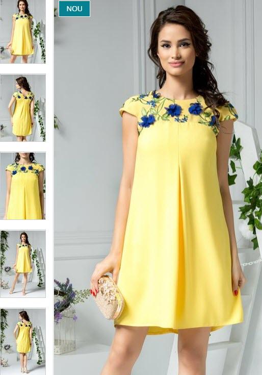 rochii galbene scurte elegante cu aplicatii florale