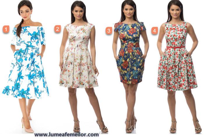 rochii midi de vara clos cu imprimeuri florale
