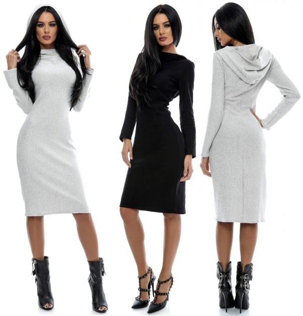 rochii midi tricotate gri sau negru