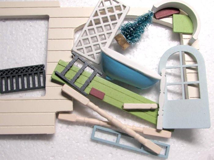 elemente de asamblat la casuta din lemn pentru papusi