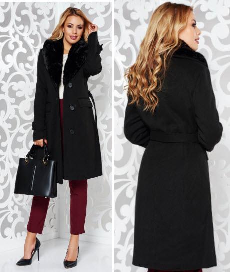 palton negru cu guler de blana