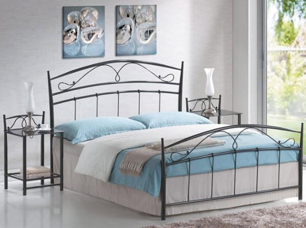 pat metalic gri cu somiera pentru saltea dubla model vintage