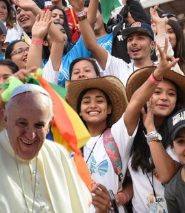 image of Pope Francis and young people