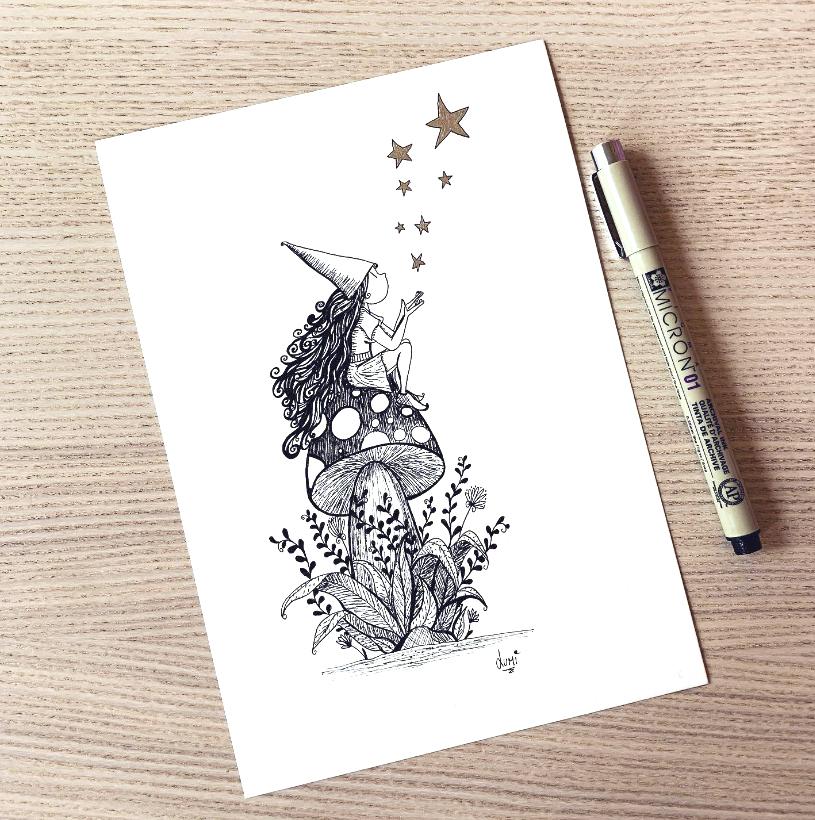 Petite Fée sur un champignon - Lumi Poullaouec Illustration