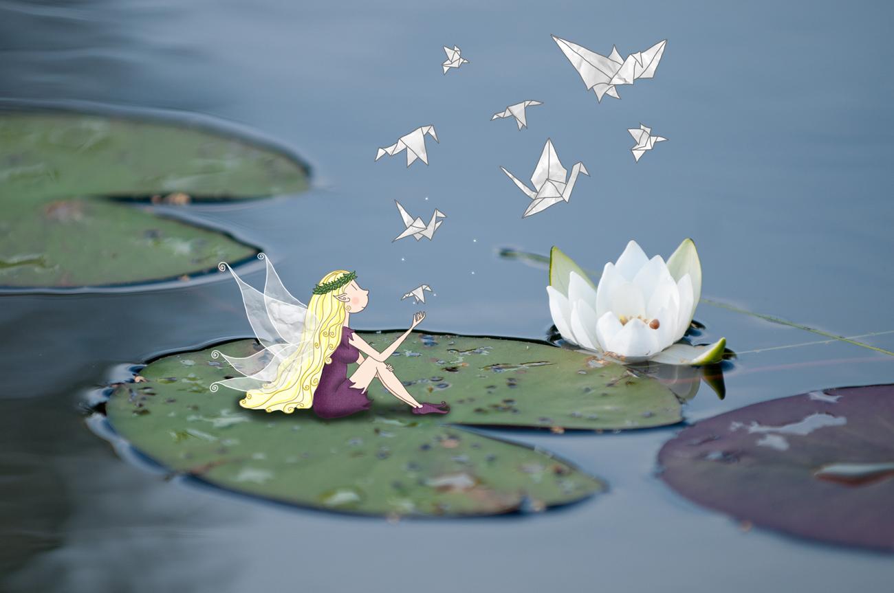 la fée des lacs sur un nénuphar- Lumi Poullaouec - Création - Photographie et illustration féérique
