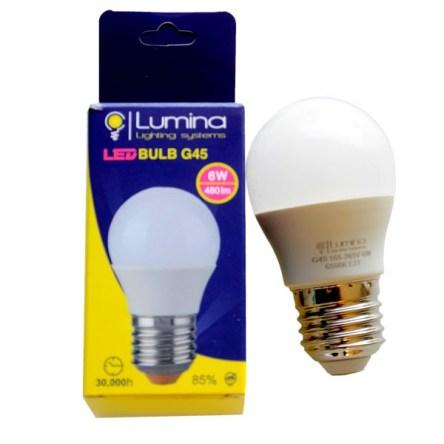 Lampe sphérique LED G45 base E27 6W Lumière Jaune (3000k)
