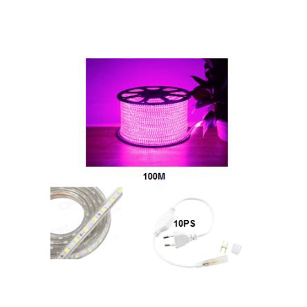 Rouleau tube light (guirlande) 100 mètre +10 fiche couleur rose