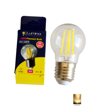Lampe sphérique LED  filament G45 base E27 4W Lumière Jaune (3000k)