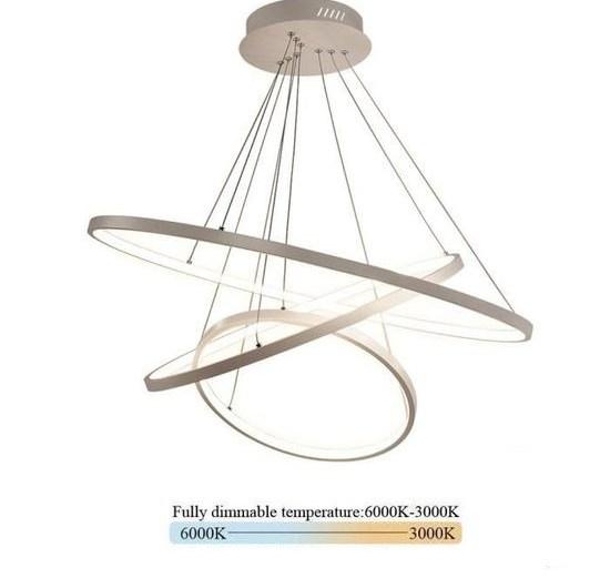 LED Lustre Salon Plafonnier 80W Créatif Rond 3 Cercle Lustre, Dimmable 3000K-6500K, Acrylique Chambre Cuisine Bureau Décoration