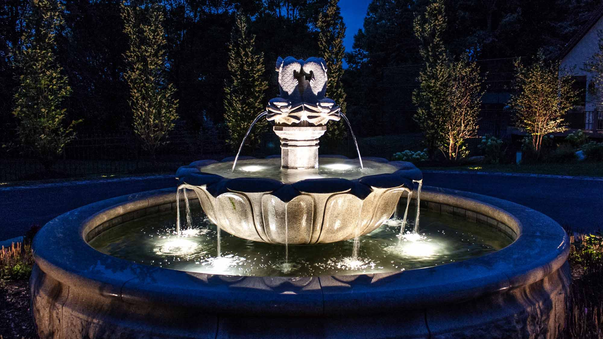 Pond Fountain Lighting Luminated Landscapes