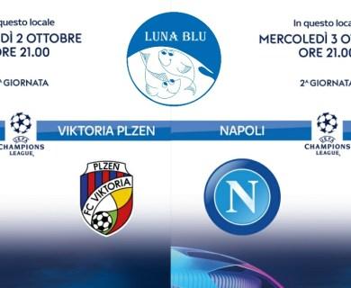 Diretta Champions League 2 e 3 ottobre al Ristorante Pizzeria Luna Blu Parma