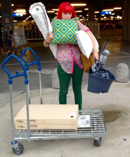 No car? No problem! Carrying everything after a successful ikea shopping trip.